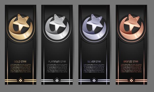Conjunto de bandeiras pretas Vetor Premium