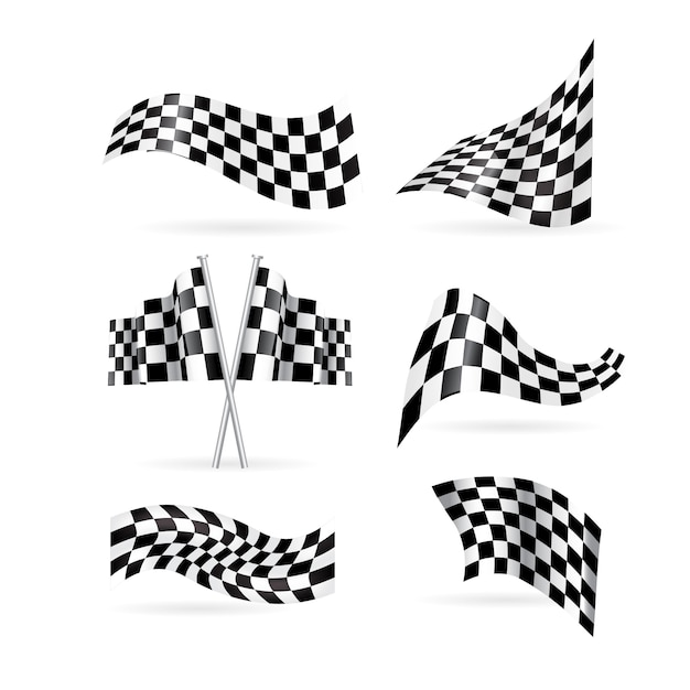 Conjunto de bandeiras quadriculada. Vetor Premium