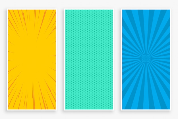 Conjunto de bandeiras verticais de estilo cômico de três cores Vetor grátis