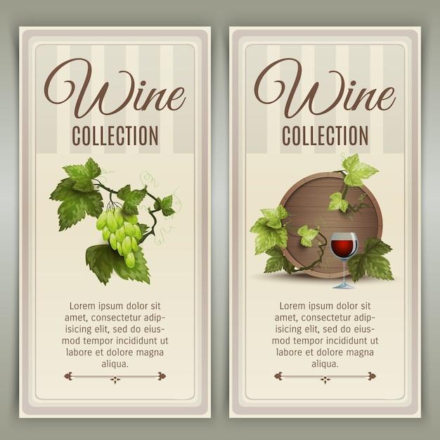 Conjunto de bandeiras verticais de vinho Vetor grátis