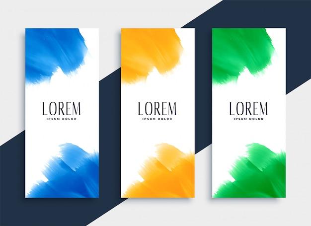 Conjunto de bandeiras verticais em aquarela abstratas em três cores Vetor grátis
