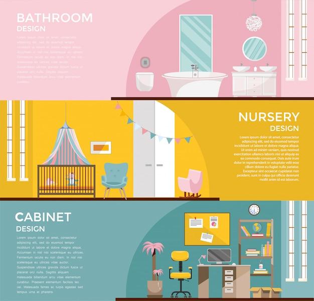 Conjunto De Banheiro De Interiores De Quarto Grafico Colorido Com