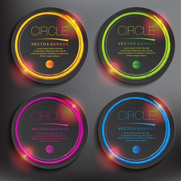 Conjunto de banner abstrato de 4. círculos de papel preto com design circular desenhados à mão. isolado Vetor Premium