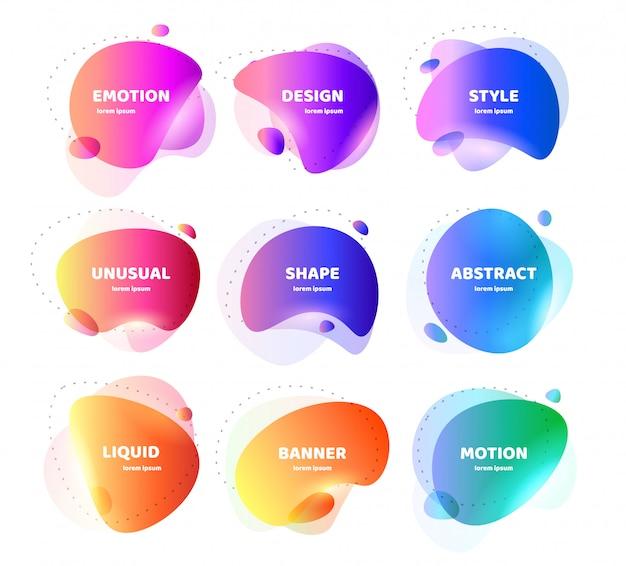 Conjunto de banner abstrato moderno. forma líquida colorida geométrica plana. modelo de design colorido de um logotipo, folheto, banner, apresentação. projeto de conceito para os negócios. ilustração isolada Vetor Premium