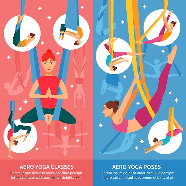 Conjunto de banner aero yoga Vetor grátis