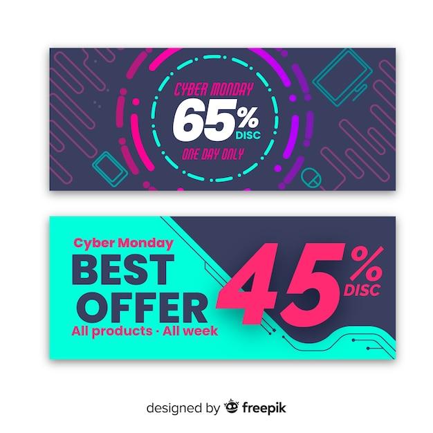 Conjunto de banner colorido abstrato cyber segunda-feira venda Vetor grátis