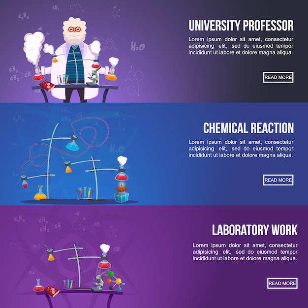 Conjunto de banner colorido de laboratório de química Vetor grátis