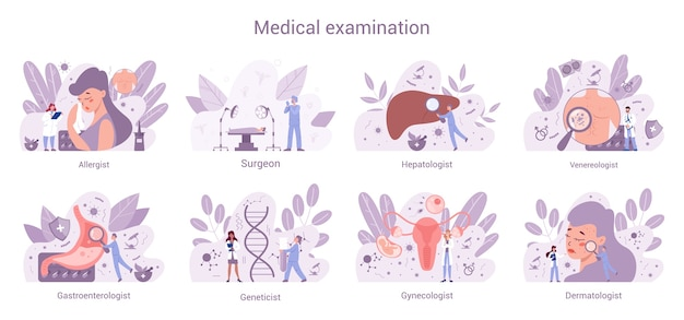 Conjunto de banner da web de especialidades médicas. ginecologista e alergista, dermatologista e gastroenterologista. diagnóstico e tratamento de doenças. Vetor Premium