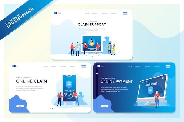 Conjunto de banner da web ou página de destino para ilustrações de seguro de vida Vetor Premium