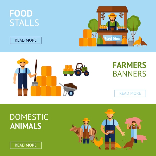 Conjunto de banner de agricultores Vetor grátis