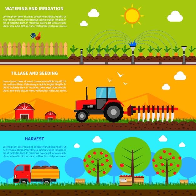Conjunto de banner de agricultura Vetor grátis