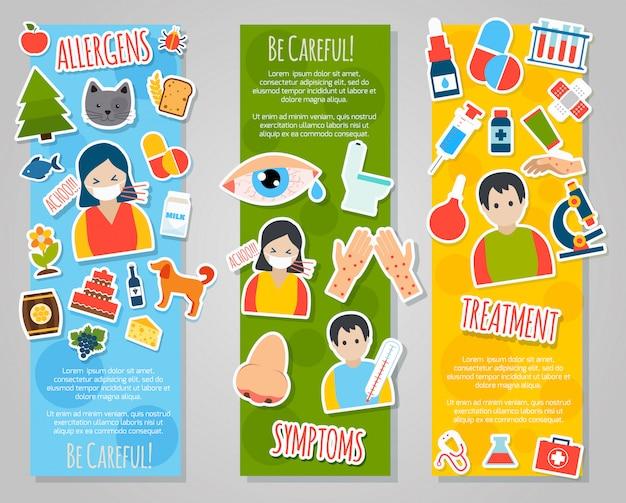 Conjunto de banner de alergias Vetor grátis