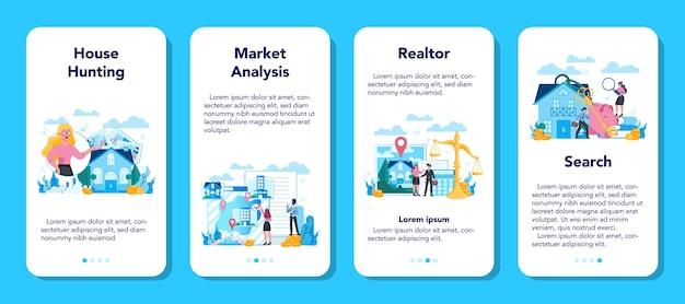Conjunto de banner de aplicativo móvel para agente imobiliário ou corretor de imóveis qualificado Vetor Premium