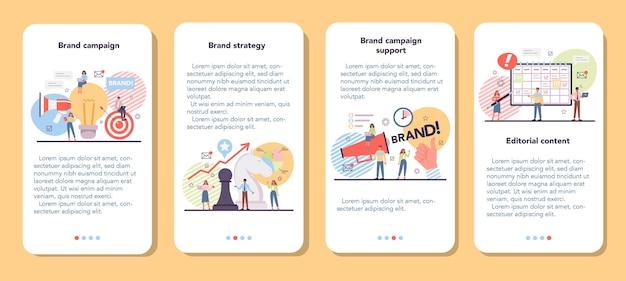 Conjunto de banner de aplicativo para celular de campanha de marca Vetor Premium