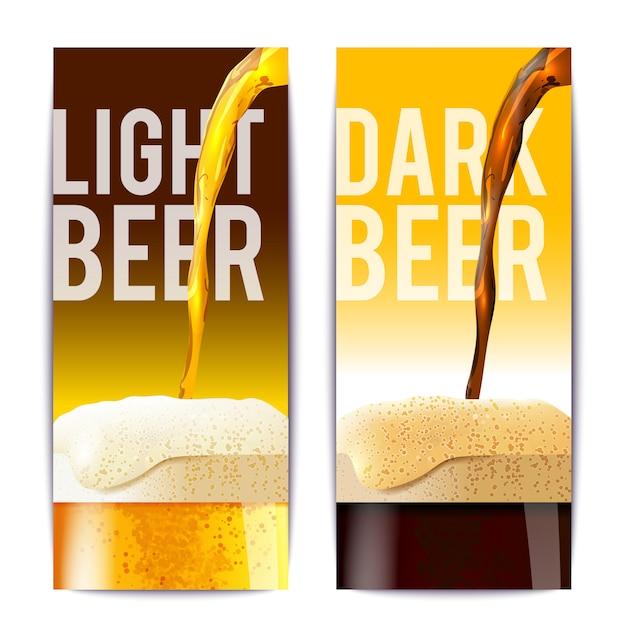 Conjunto de banner de cerveja Vetor grátis