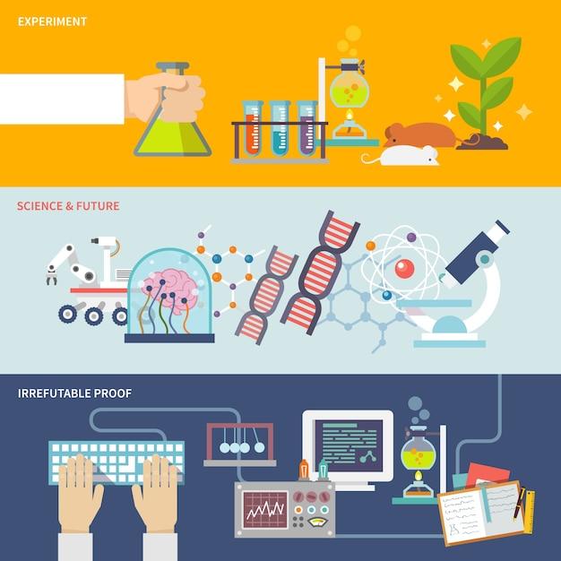 Conjunto de banner de ciência e pesquisa Vetor grátis