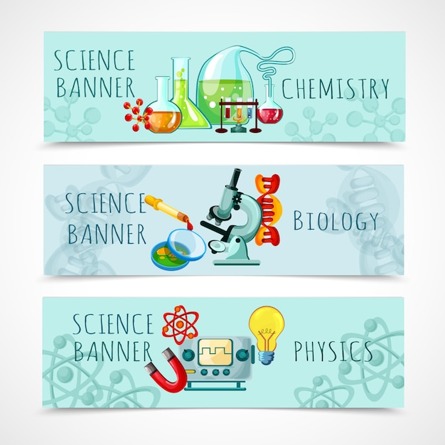 Conjunto de banner de ciência Vetor grátis