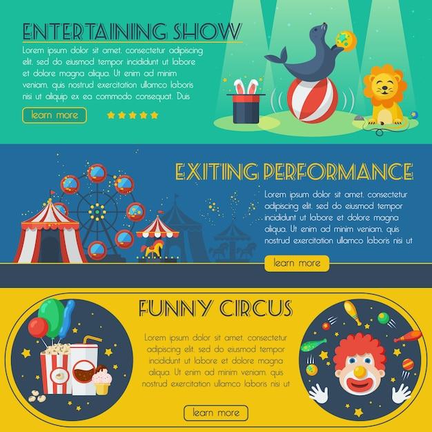Conjunto de banner de circo Vetor grátis