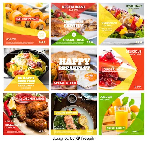 Conjunto de banner de comida fotográfica quadrada Vetor grátis