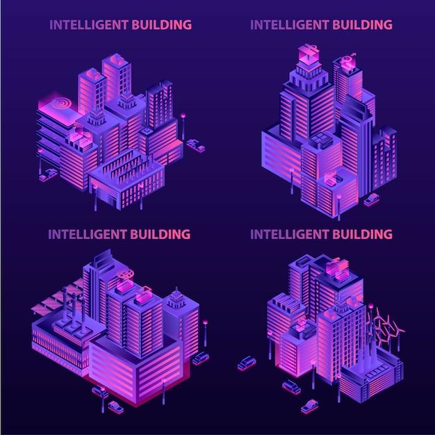 Conjunto de banner de construção inteligente. conjunto isométrico de banner de vetor de construção inteligente para web design Vetor Premium