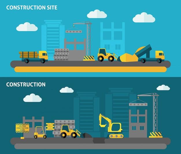 Conjunto de banner de construção Vetor grátis