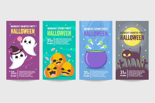 Conjunto de banner de convite de halloween colorido modelo Vetor Premium