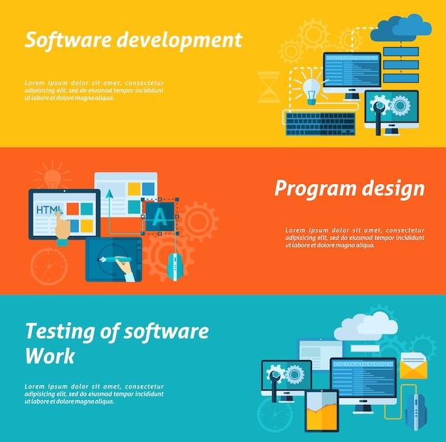 Conjunto de banner de desenvolvimento de programa Vetor grátis