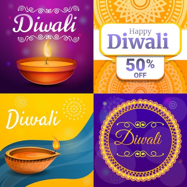 Conjunto de banner de diwali, estilo cartoon Vetor Premium