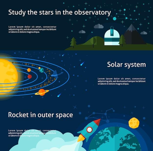 Conjunto de banner de espaço e universo Vetor grátis