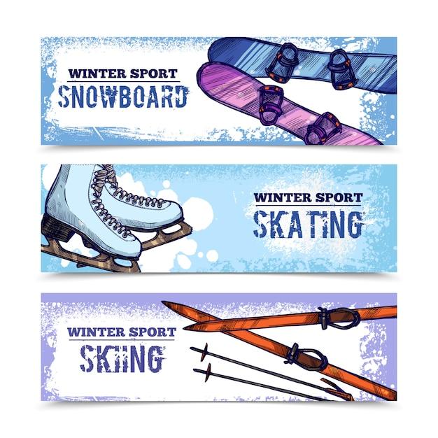 Conjunto de banner de esporte de inverno Vetor grátis