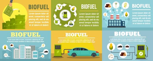Conjunto de banner de estação de combustível bio Vetor Premium