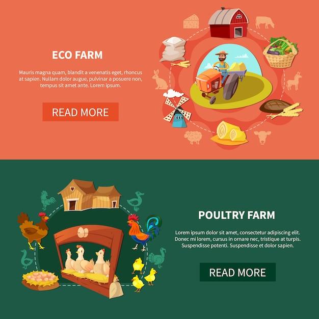 Conjunto de banner de fazenda dos desenhos animados Vetor grátis