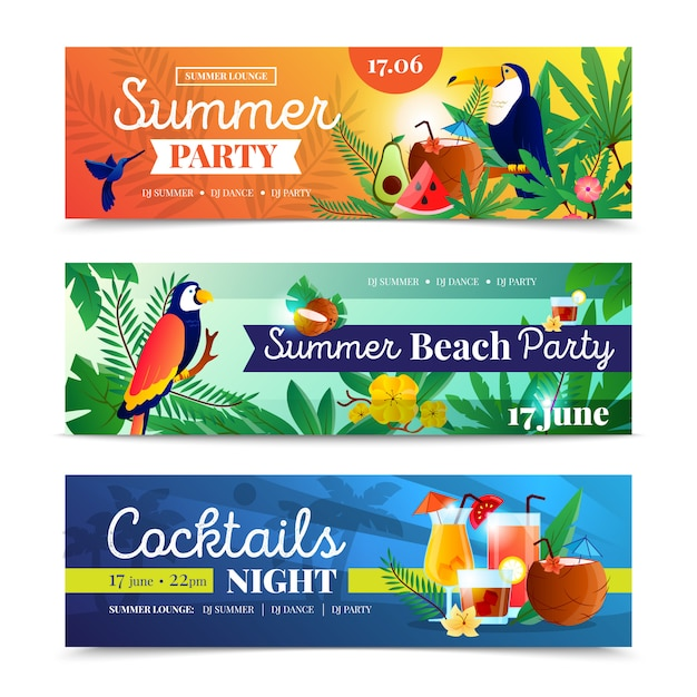 Conjunto de banner de festa de praia tropical Vetor grátis