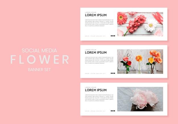 Conjunto de banner de flor de mídia social Vetor grátis