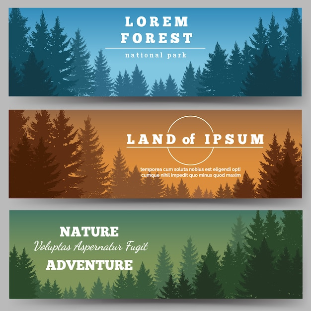 Conjunto de banner de floresta de pinheiros verdes Vetor Premium