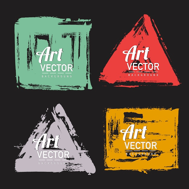 Conjunto de banner de forma de pincel aquarela Vetor grátis