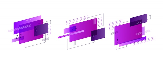 Conjunto de banner de formas abstratas coloridas Vetor grátis