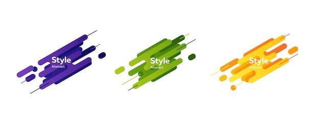 Conjunto de banner de formas de respingo moderno abstrato azul, verde e laranja Vetor grátis