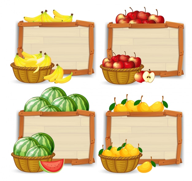 Conjunto de banner de frutas Vetor grátis