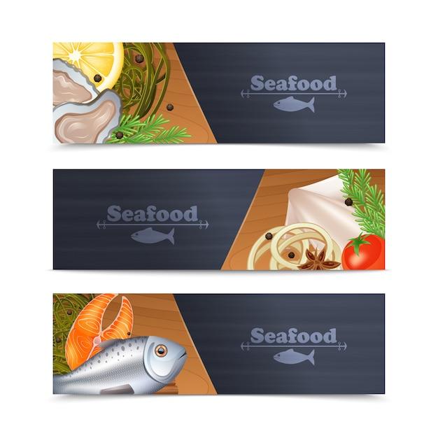Conjunto de banner de frutos do mar Vetor grátis