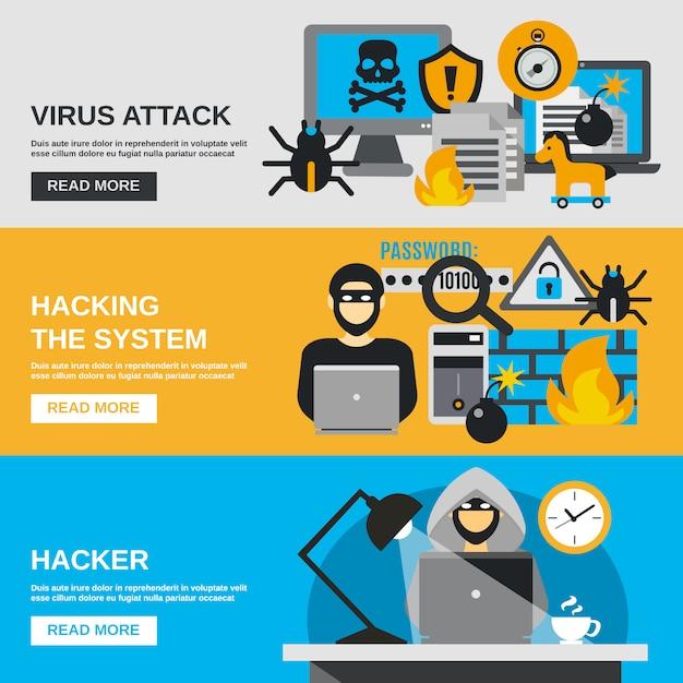 Conjunto de banner de hackers Vetor grátis