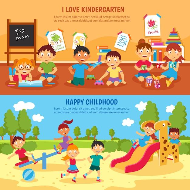 Conjunto de banner de jardim de infância Vetor grátis