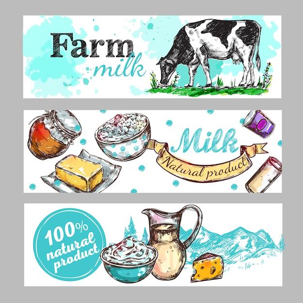 Conjunto de banner de leite de fazenda de vaca Vetor grátis