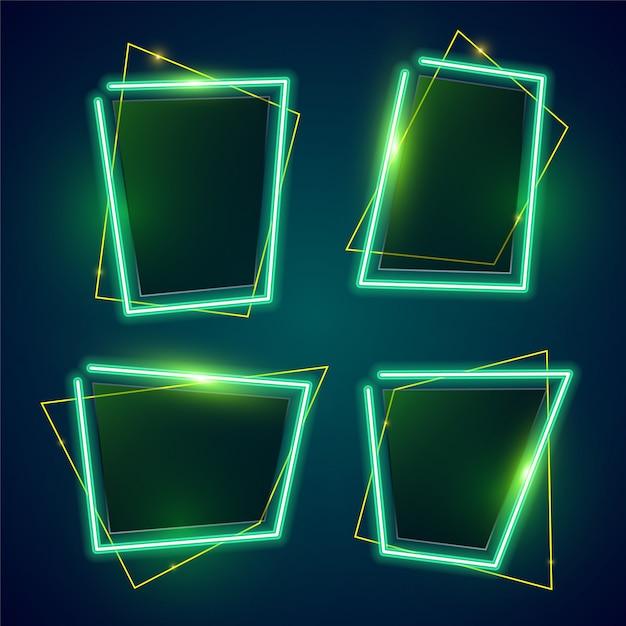 Conjunto de banner de néon verde Vetor Premium