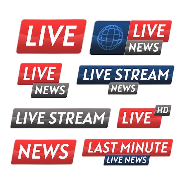 Conjunto de banner de notícias de transmissões ao vivo Vetor grátis