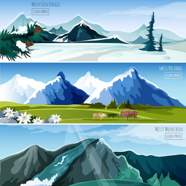 Conjunto de banner de paisagens de montanha Vetor grátis