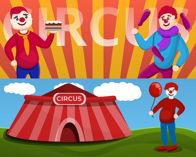 Conjunto de banner de palhaço de circo, estilo cartoon Vetor Premium