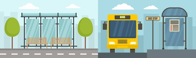 Conjunto de banner de parada de ônibus da cidade Vetor Premium