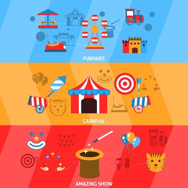Conjunto de banner de parque de diversões Vetor grátis