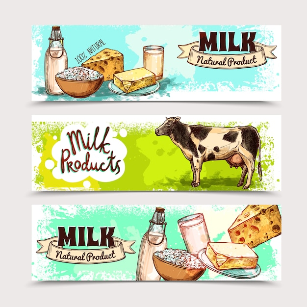 Conjunto de banner de produtos lácteos Vetor grátis